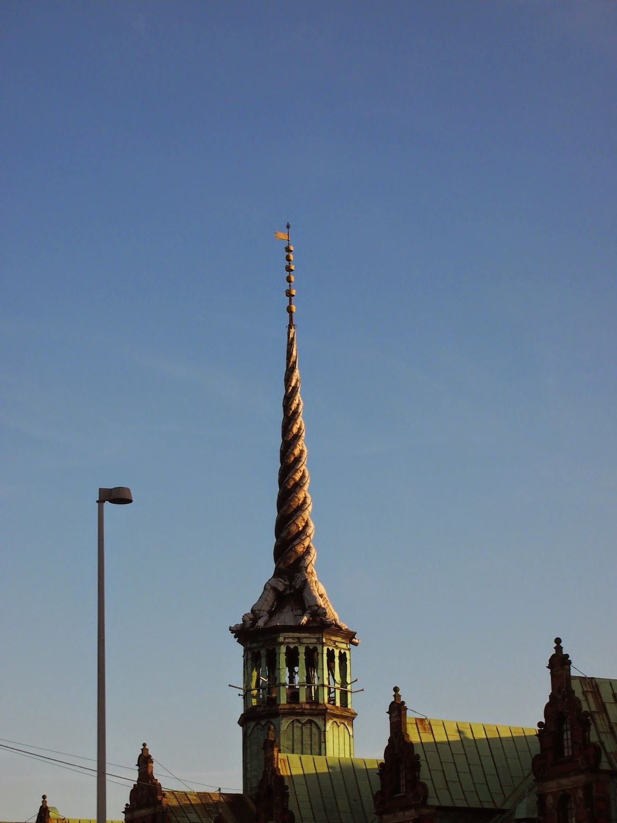 the dragon spire on the old stock exchange in copenhagen