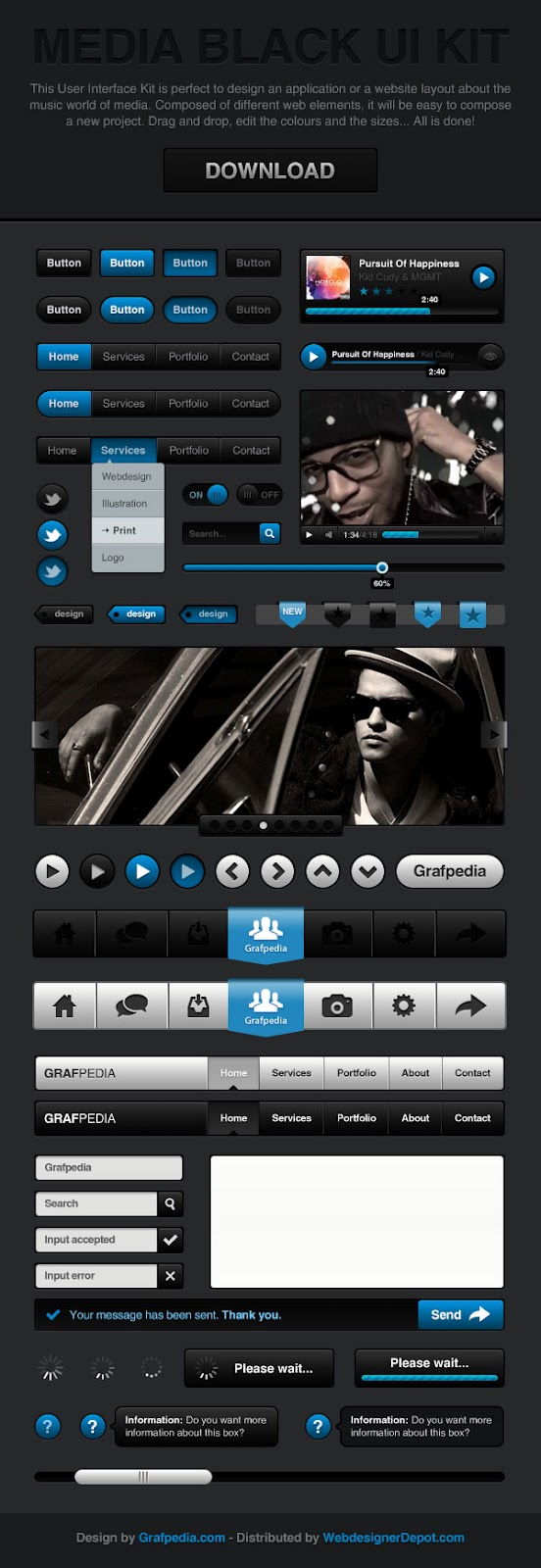 Media Black UI Kit - fully Photoshop layered PSD File