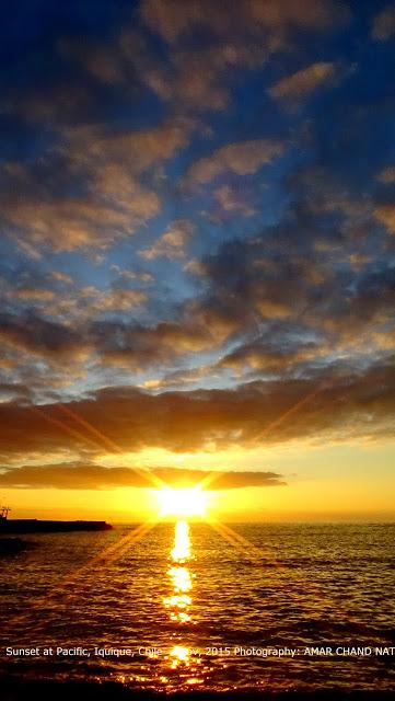 Amazing sunset in Pacific, Iquique.