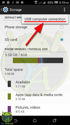 Choosing USB Computer Connection on HTC Desire 526G Storage Menu - Yes Android