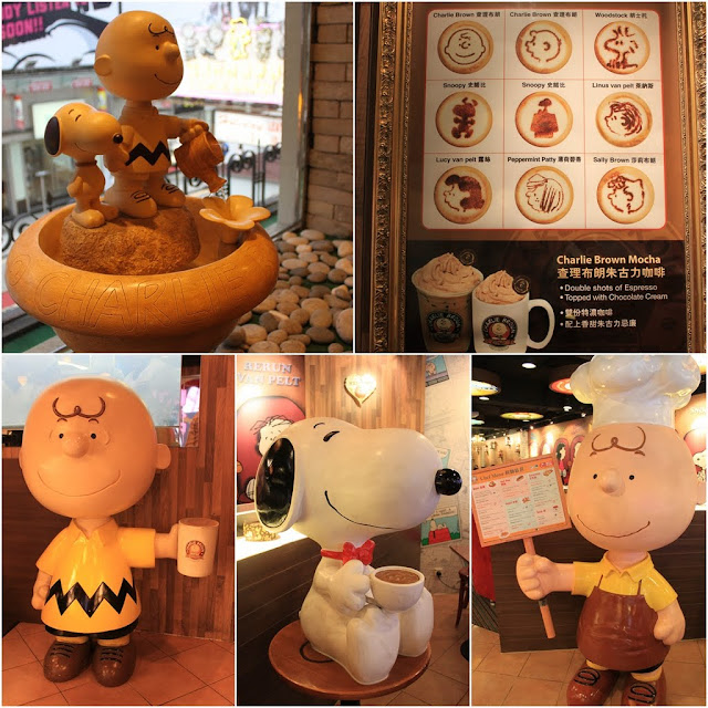 Charlie Brown, Snoopy and other characters can be seen at Charlie Brown Cafe in Tsim Sha Tsui, Kowloon, Hong Kong