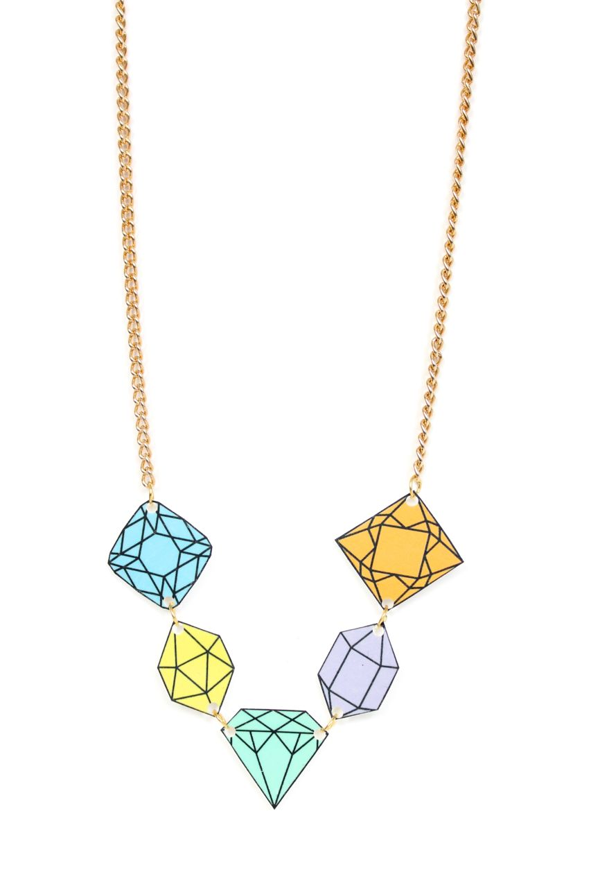 diy shrinky dinky diamond necklace tutorial