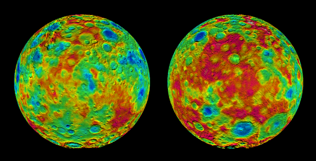 This pair of images shows color-coded maps from NASA's Dawn mission, revealing the highs and lows of topography on the surface of dwarf planet Ceres. Credits: NASA/JPL-Caltech/UCLA/MPS/DLR/IDA