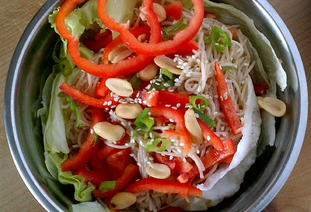 Asian Inspired Warm Black Bean Noodle Salad