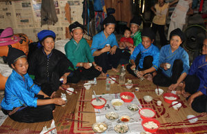 Lunch at a house of the Nùng ethnic people