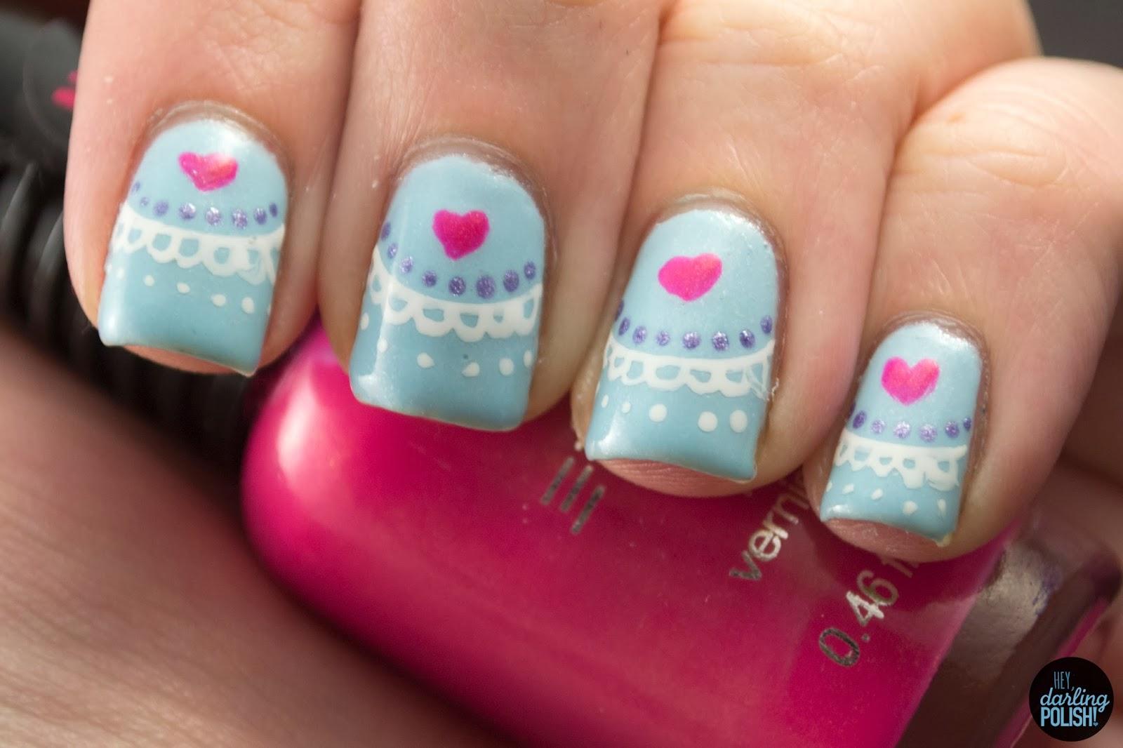 nails, nail art, nail polish, polish, valentines, golden oldie thursdays, hearts, blue, hey darling polish