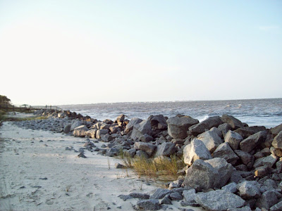 Beach shoreline. Sand is separated from the water by large boulders.