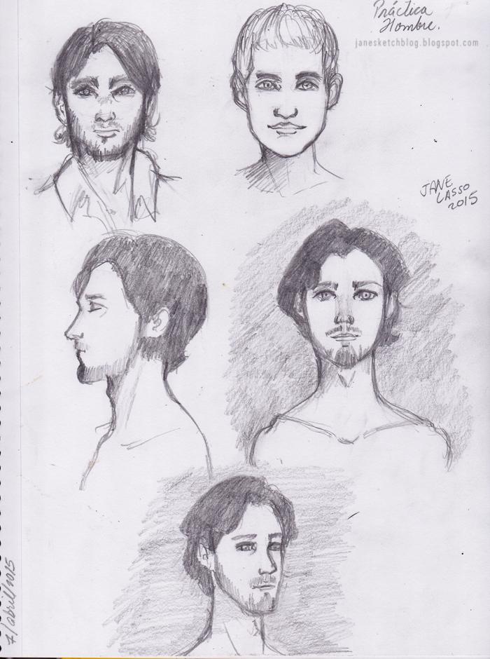 Dibujo a lápiz , caras de hombres