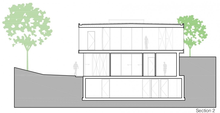 Section of Modern Villa V by Paul de Ruiter Architects