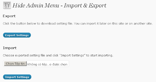 WordPress Hide Admin Menu Import And Export