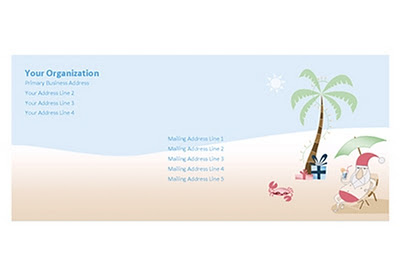 Free download of Letter Envelope Template of the Summer Santa Stationery Set by Robert Aaron Wiley for Microsoft Office Online