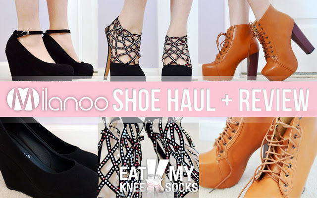 A shoe haul and review of Milanoo's black ankle strap wedge pumps, jeweled stiletto platform booties, and tan Jeffrey Campbell Lita dupe platform booties, brought to you by Eat My Knee Socks/Mimchikimchi.