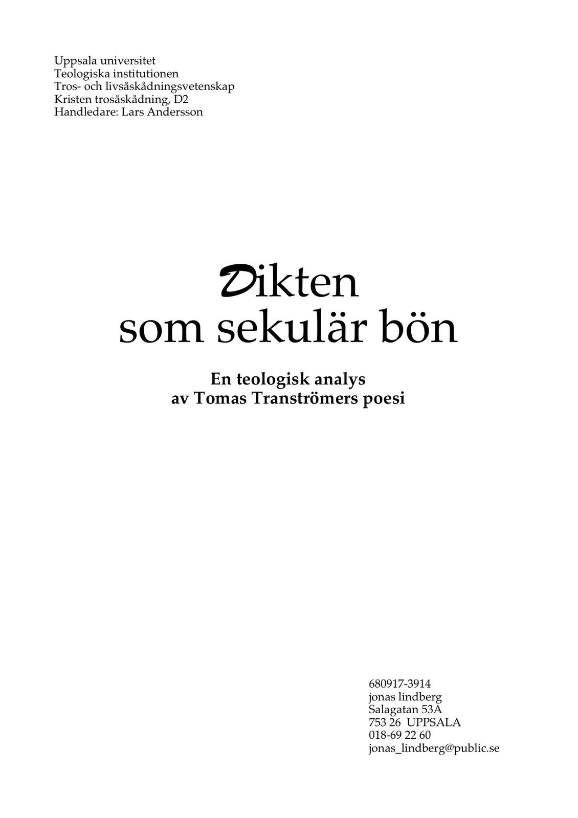 dikt begravning tranströmer