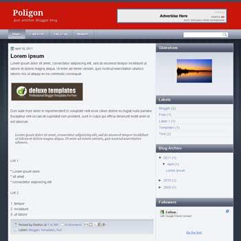 Poligon blogger template with 3 column blogger template. 3 column blogspot template