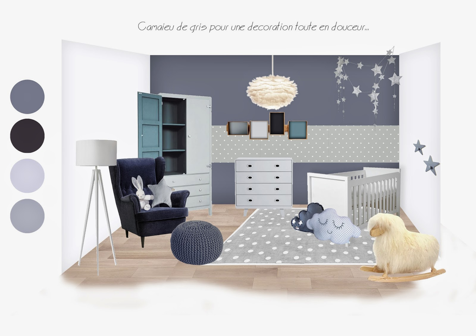 deco chambre bebe mixte gris. Black Bedroom Furniture Sets. Home Design Ideas