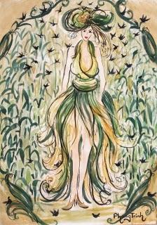 Beautiful Pen Watercolor Painting Drawing Figure Fine Art