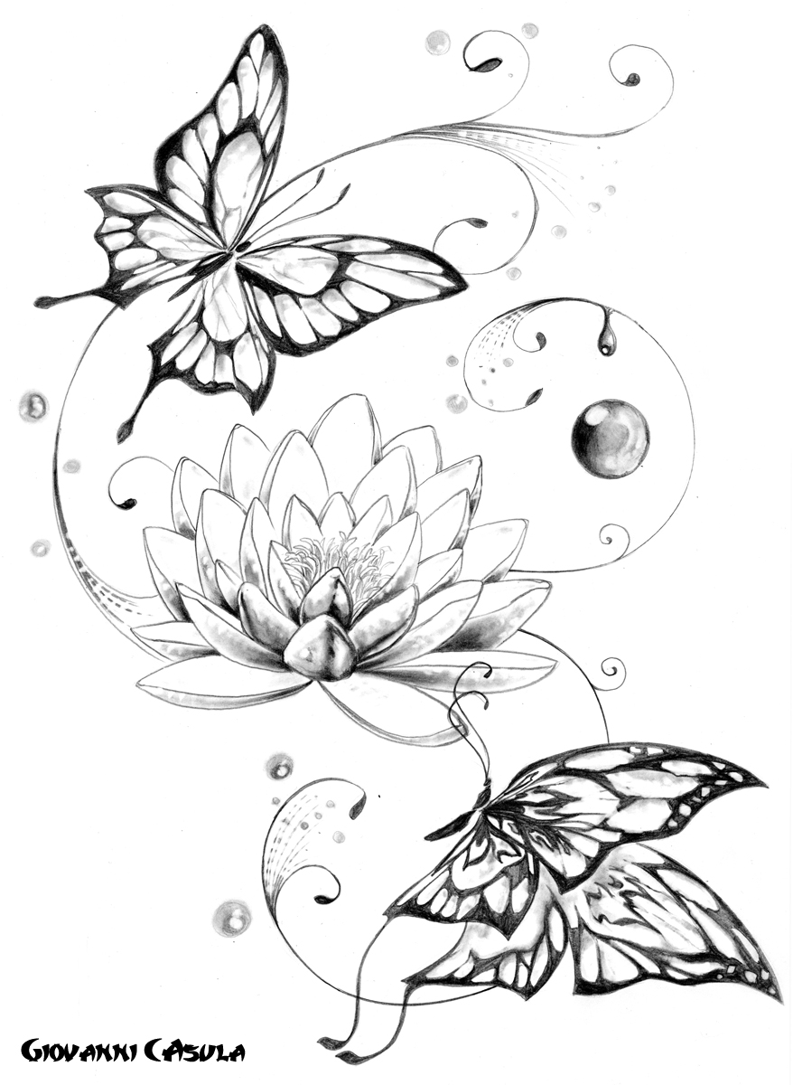 Giovanni casula tattoo for Lotus flower and butterfly tattoo designs
