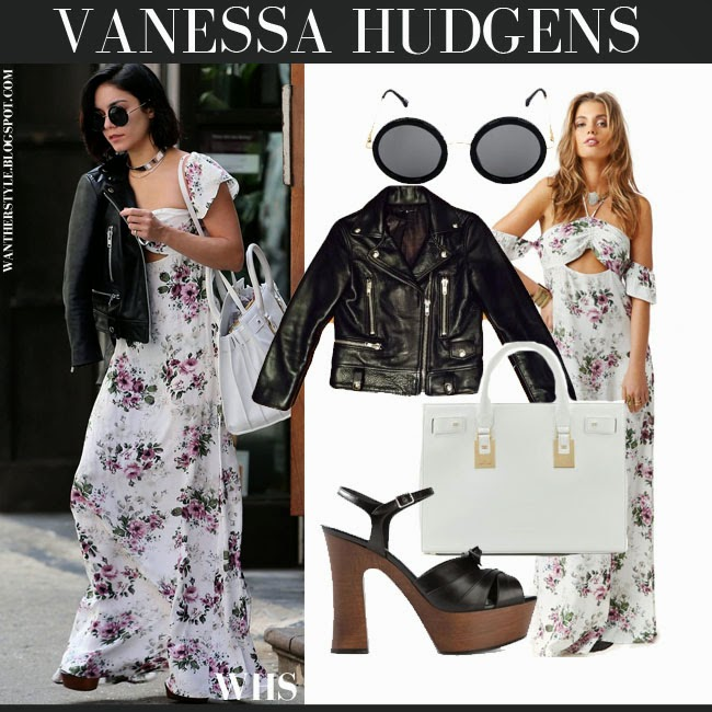 Vanessa Hudgens in white floral print maxi dress Flynn Skye Err with black leather jacket and white tote what she wore april 2015 chic boho romantic streetstyle