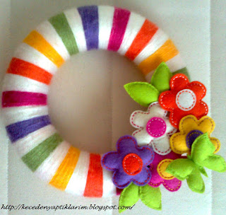 felt flowers felt buterflies wreath
