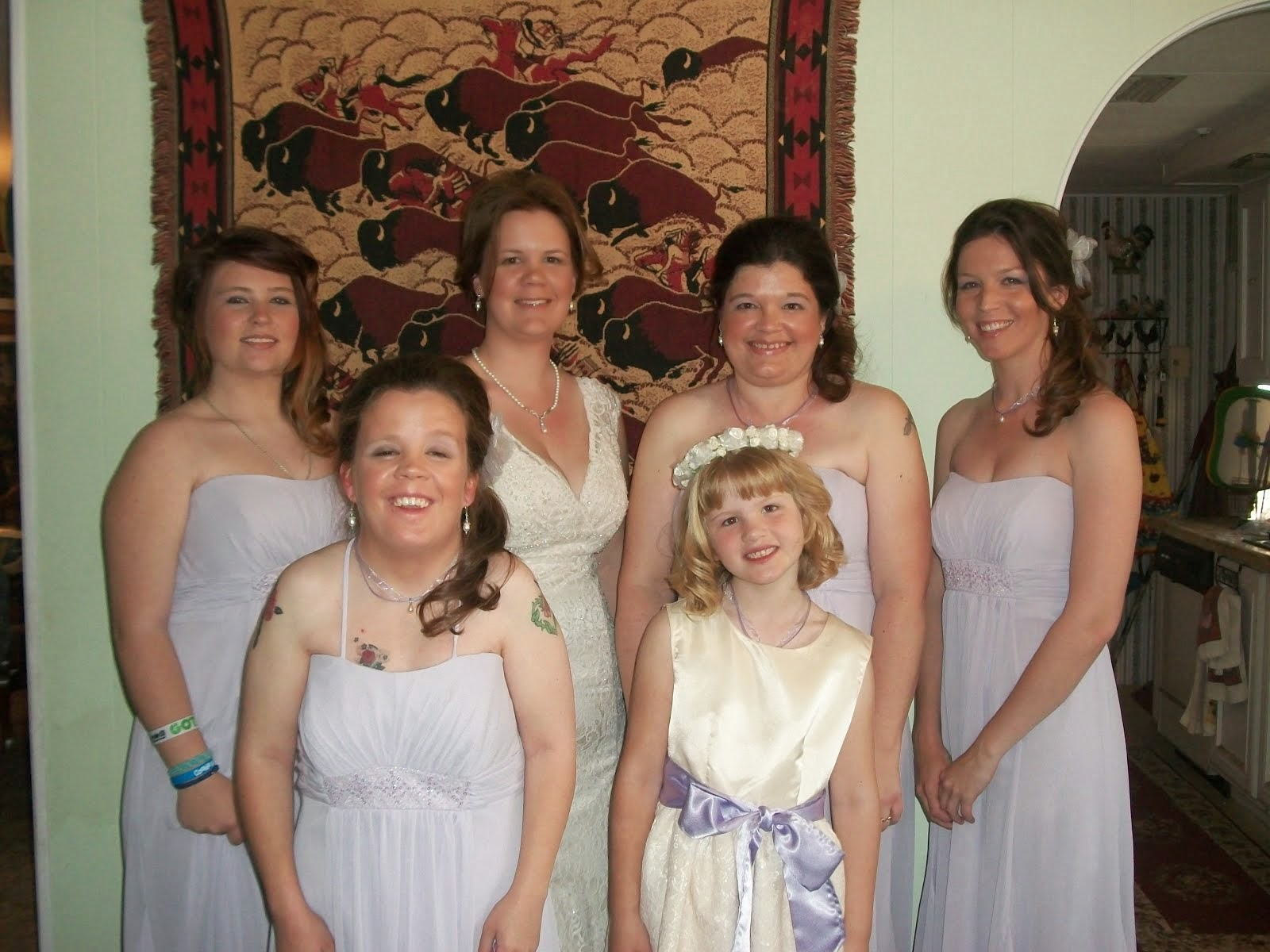 The Bride and her attendants (Left to Right) Leeann, Sara, Shawna, Cassie.  Sandy and Eden in front