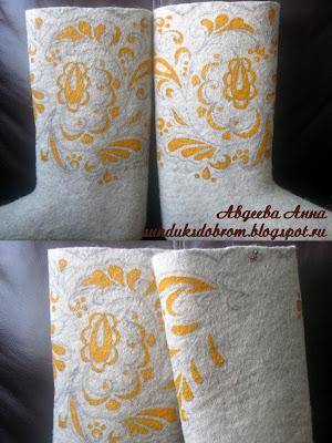 МК роспись валенок акрилом, расписные валенки