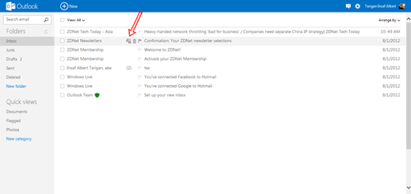Tips Mengatus Email di Outlook.com Instant Action