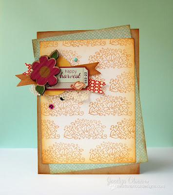 Fall leaf card by Jocelyn Olson for Newton's Nook Designs