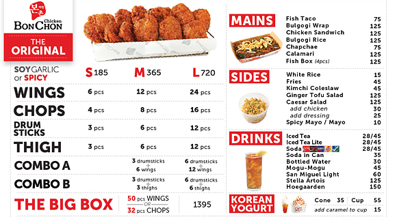 Menu of Bon Chon Philippines