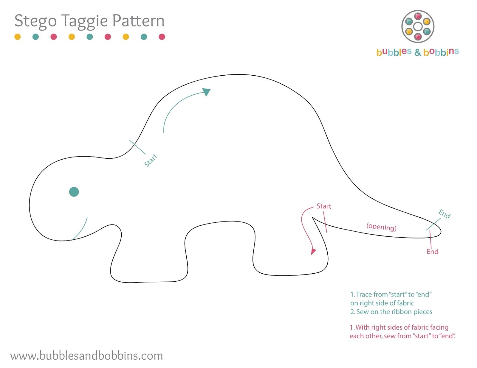 tutorial how to make a dinosaur stegosaurus taggie doll