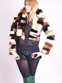 Vintage 1960's brown and white patchwork mink fur coat with leather trim.