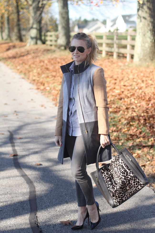 shein coat, neutral, grey jeans, boden bag
