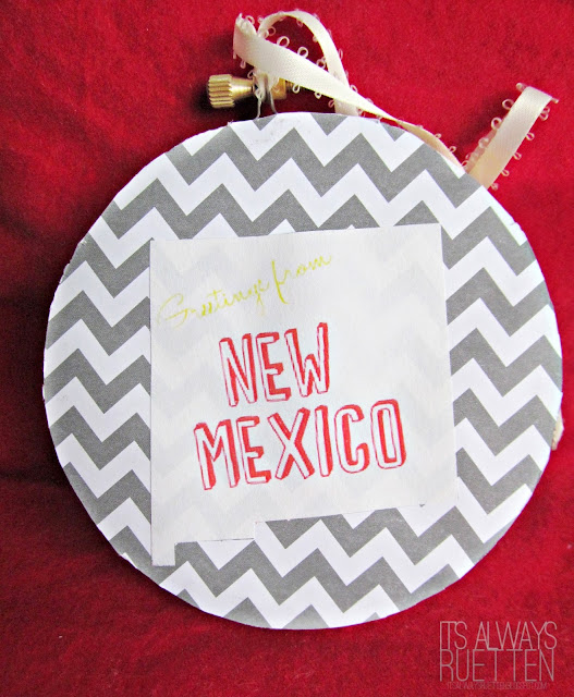 Greetings from New Mexico - DIY New Mexico Christmas Ornament from It's Always Ruetten #ornamentswap13