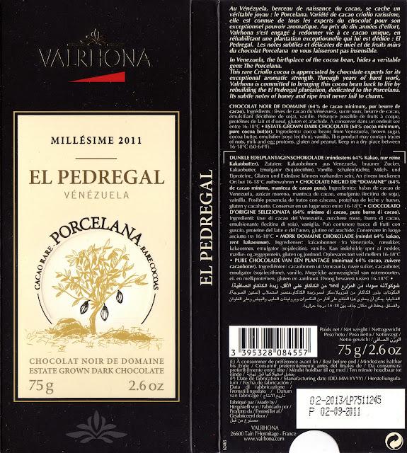 tablette de chocolat noir dégustation valrhona noir de domaine el pedregal vénézuela 2011