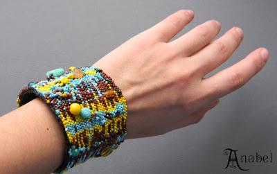 купить украшения бохо, бисерный фриформ браслет украина анабель
