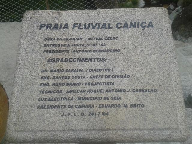 Placa Inauguração da Praia Fluvial da Caniça