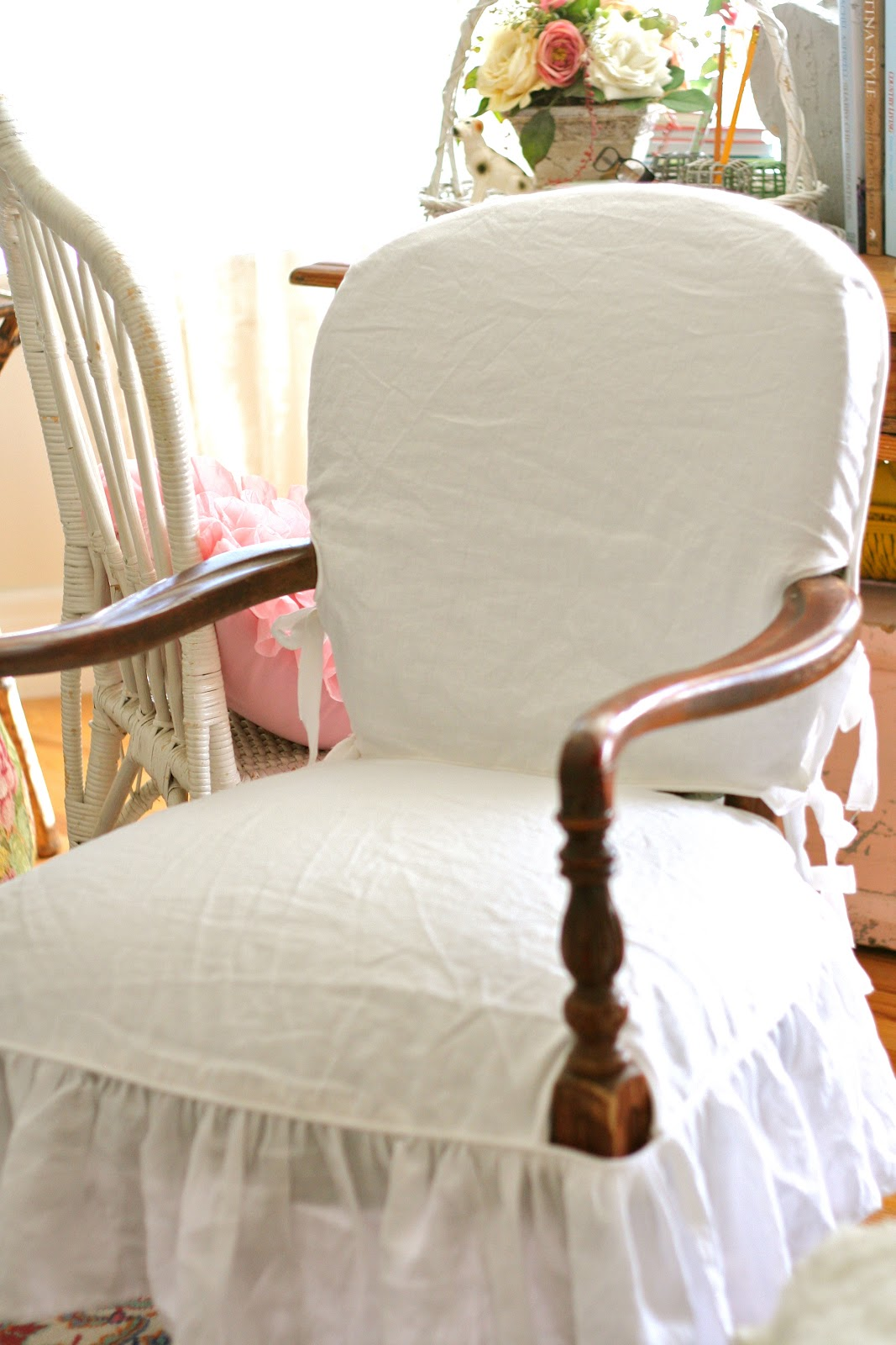 wood arm chair slipcover