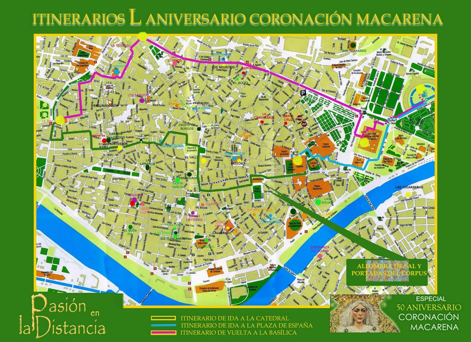Horarios e Itinerarios traslados  Aniversario Macarena Catedral Plaza España mayo 2014