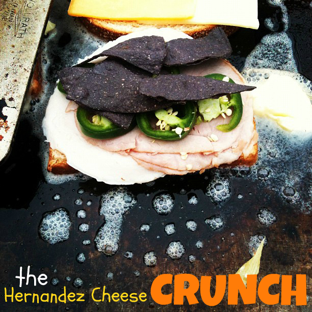 The Grilled Cheese Crunch with Jalapeños and Blue Corn Tortilla Chips