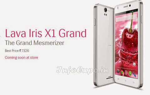 Lava Iris X1 Grand:5 inch,1.3GHz Quad Core Android Phone Specs, Price