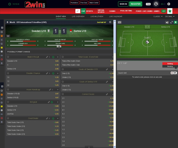 2winbet Live Betting Offers