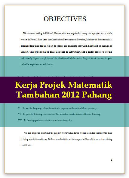Jawapan Kerja Projek Matematik Tambahan 2012 Pahang