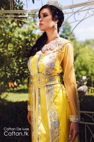 Takchita mariée jaune perlée 2014