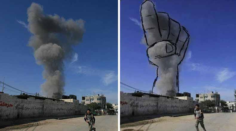 Palestinos convierten humos de ataques con cohetes israelí en poderosas imágenes