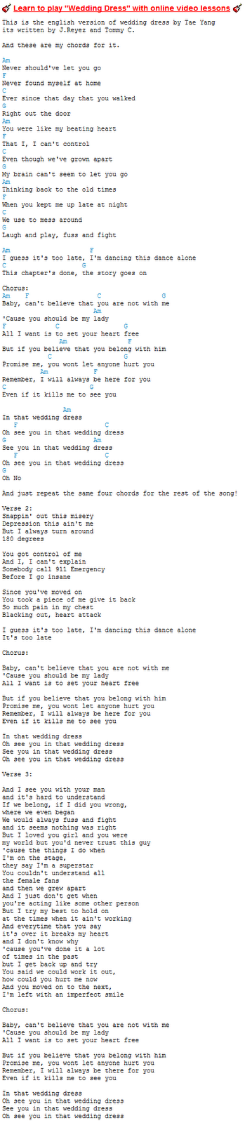 Gen-ed goal...(learning guitar): first song i ever try by, kpop artist taeyang (wedding dress)
