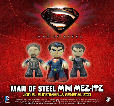 San Diego Comic-Con 2013 Exclusive Superman Man of Steel DC Universe Mini Mez-Itz 3 Pack - Henry Cavill as Suerpman, Michael Shannon as General Zod & Russell Crowe as Jor-El