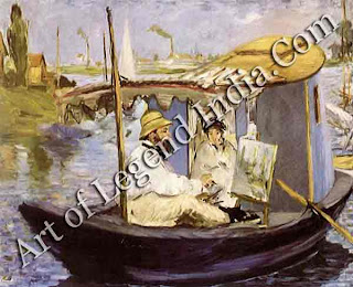 A floating studio When Monet moved to Argenteuil on the Seine in 1871 he built a special floating studio so he could work on the river. This painting, made by Edouard Manet in 1874, shows Monet on the boat with his wife Camille.