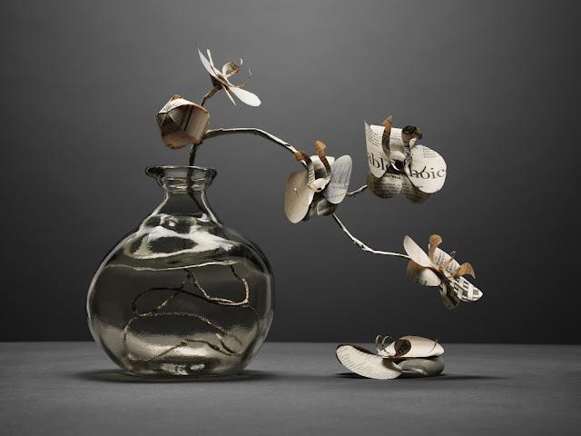 Fideli Sundqvist, Sweden ,suecia ,papel,paper,fold,plegar,flores,flowers,jarron,orquideas,gris,grey,blanco,white