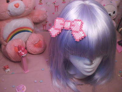Kawaii Pixel Pink Perler Bead Hair Bow
