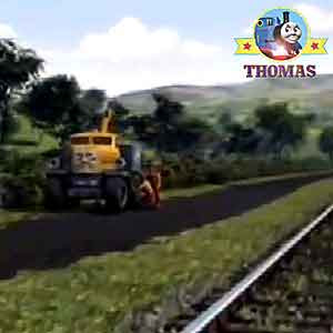 Race to the rescue Sodor heavy recovery truck Butch the breakdown vehicle on the side of the roadway