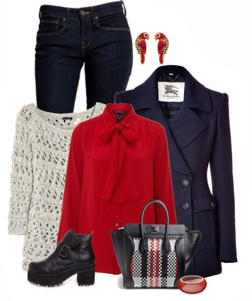Adorable sweater, red dress, blue jacket, jeans and high heel shoes for fall